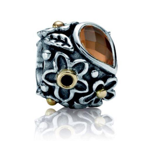 648ae145b ... Retired Authentic Pandora Moonstone Orange Dew Drops Charm 92514K Gold  79054MSO ...