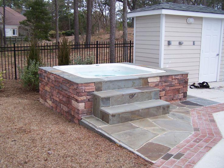 Stone Hot Tub Surround Sandscapes Pinterest Tub