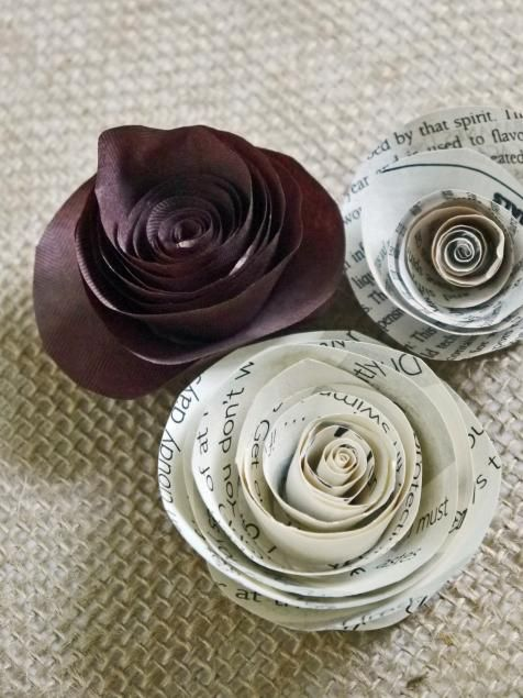 Paper flowers fashioned from old book pages, newspaper or brown Kraft paper