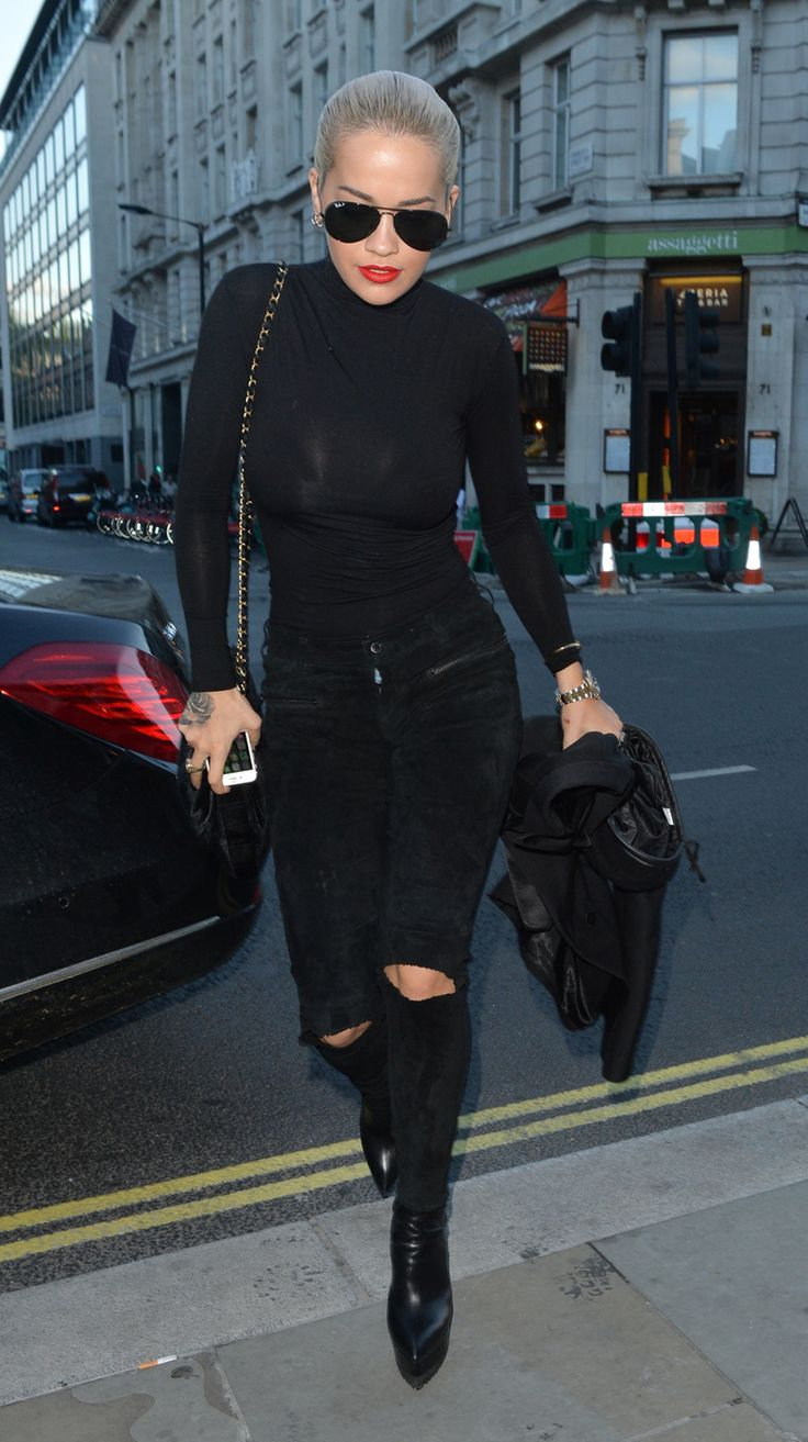 Rita Ora in all black - ripped jeans, black turtleneck - street style
