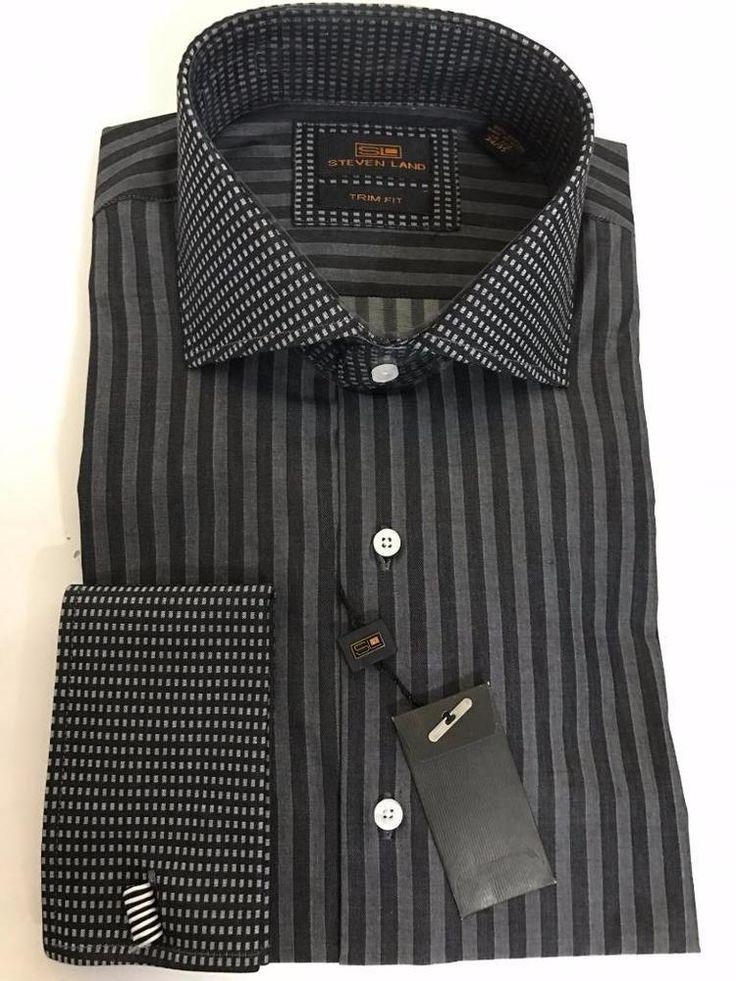 New Steven Land Men's Striped Black/White Cotton Trim Fit Dress Shirt TW634 #StevenLand