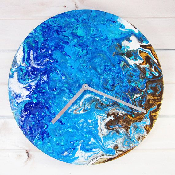 Water and Cliffs Handmade Clock - Acrylic Resin Artwork- Resin Art - Acrylic Pouring