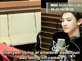 Chan can't control himself while Baek does something