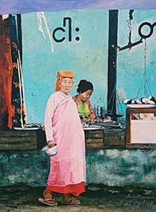 Nun Collecting Alms Nyaung-U Market, 2005   Nalovi-Willert