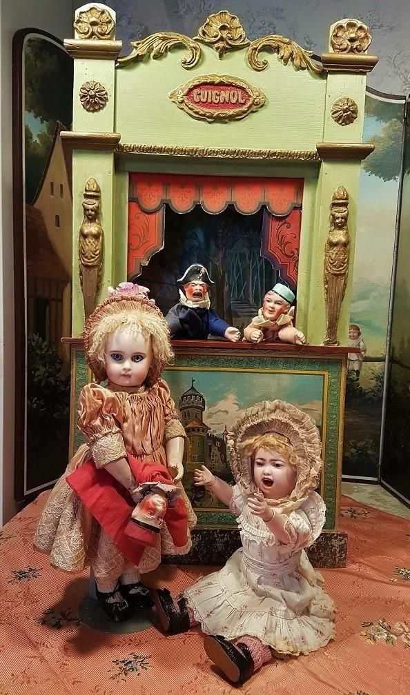 ~~~ Beautiful Antique French Guignol Doll Size Puppet Theater ~~~ from whendreamscometrue on Ruby Lane