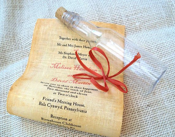 Message In A Bottle Wedding Invitations, Nautical Destination, Fabric  Scroll, Set Of 10
