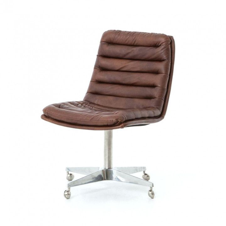 Brown Leather Armless Desk Chair