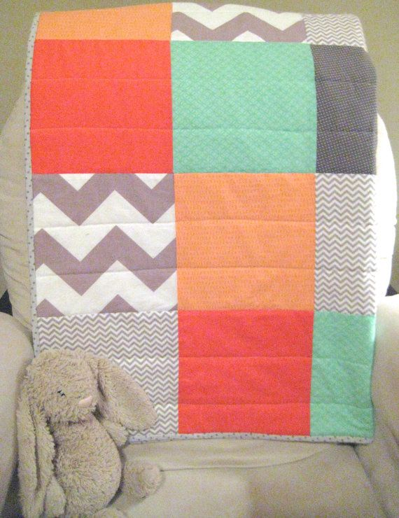 Hey, I found this really awesome Etsy listing at http://www.etsy.com/listing/160217169/modern-baby-quilt-chevron-dots-mint
