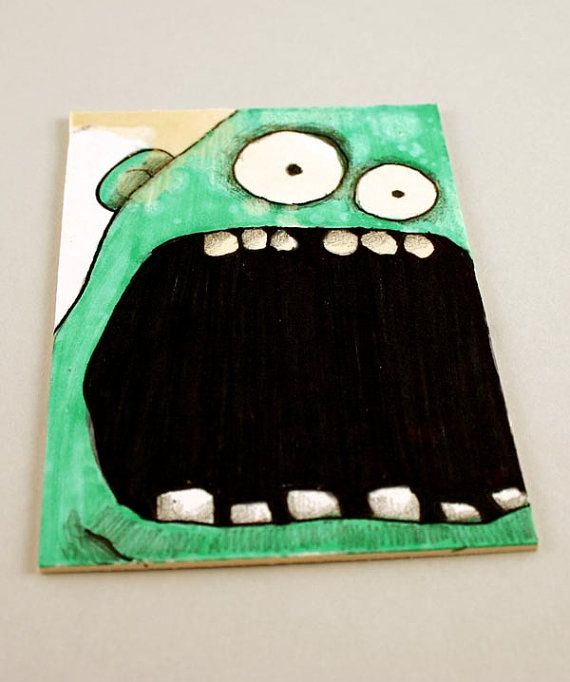 Green Monster Original ACEO Drawing by Aaron by Aaronbutcher, $5.00
