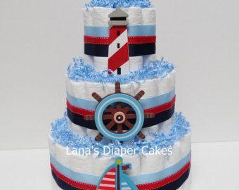 Pretty diaper cake Shabby chic diaper cake door DiaperCakesbyRuby
