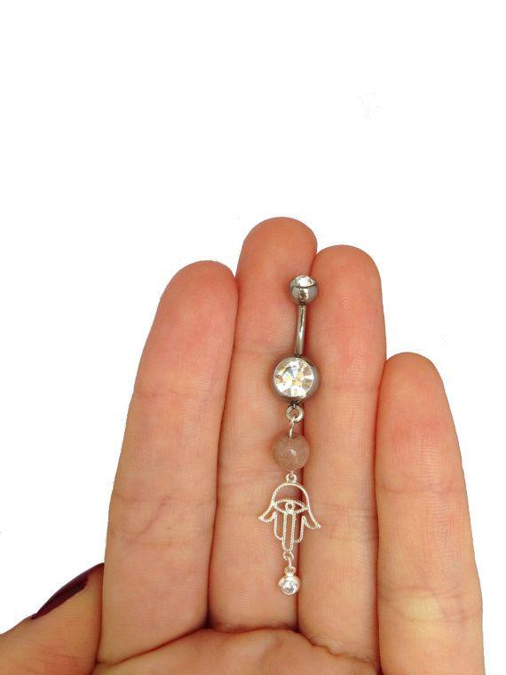 925 Silber Bauchnabel-Piercing mit Hamsa Anhänger von HinisJewelBox