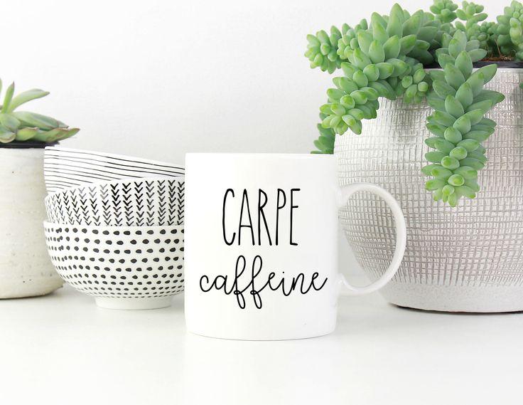 Carpe Caffeine Mug, Funny Coffee Mug, Caffeine Mug, Coffee Lover, Gift for Coffee Lover, Coffee Gift, Coffee Present, Custom Mug, Sweet Mint by SweetMintHandmade on Etsy https://www.etsy.com/listing/539384467/carpe-caffeine-mug-funny-coffee-mug
