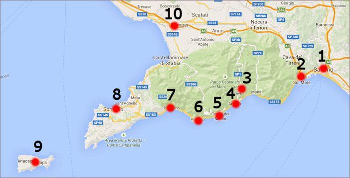 Die Amalfiküste (Costiera Amalfitana) am Südrand der Halbinsel Sorrent Klicken Sie auf die Karte für eine detaillierte Straßenkarte online 1 - Salerno, 2 - Vietri sul Mare, 3 - Ravello, 4 - Amalfi, 5 - Conca dei Marini, 6 - Praiano, 7 - Positano, 8 - Sorrent, 9 - Capri, 10 - Pompeji