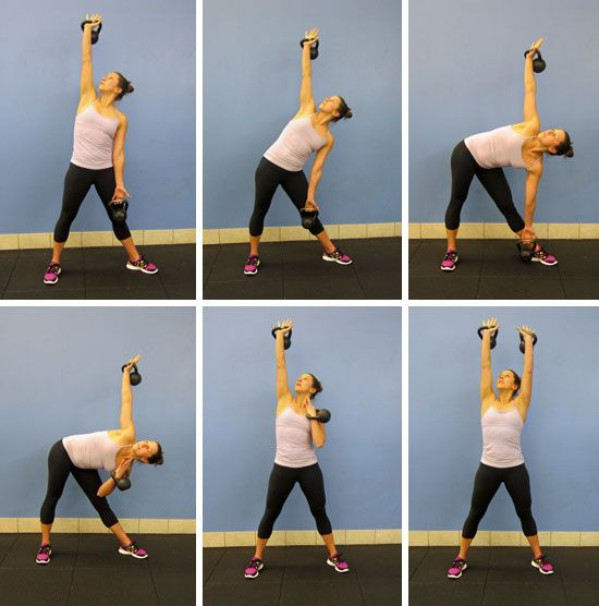 Kettlebell Windmill:  Begin standing with your feet slightly wider than hip distance apart. Rotate your left toes outward and raise your right arm above your head, keeping your eyes trained on the weight. Shift your hips to the right. Don't let your pelvis swing behind you as you move into the sassy position. As you shift your hips right, your weight will shift to the right, too. You should feel about 60 percent of your weight in your right foot. Lower your torso toward the floor, so the…