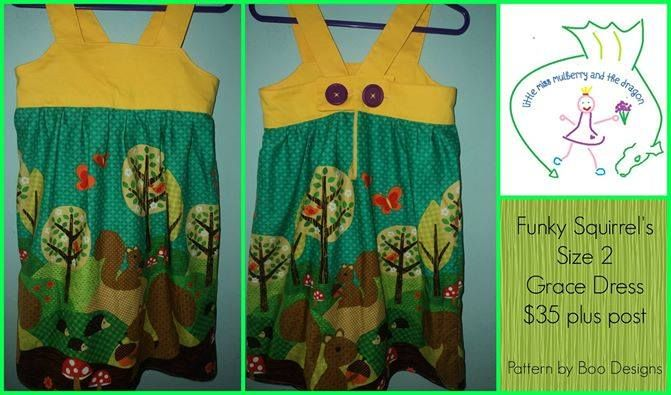 Handmade by Little Miss Mulberry & The Dragon Funky Squirrel's Vanilla Grace Dress Enchanted Forest Market Night opens at 9pm, on Tuesday 6th May, 2014