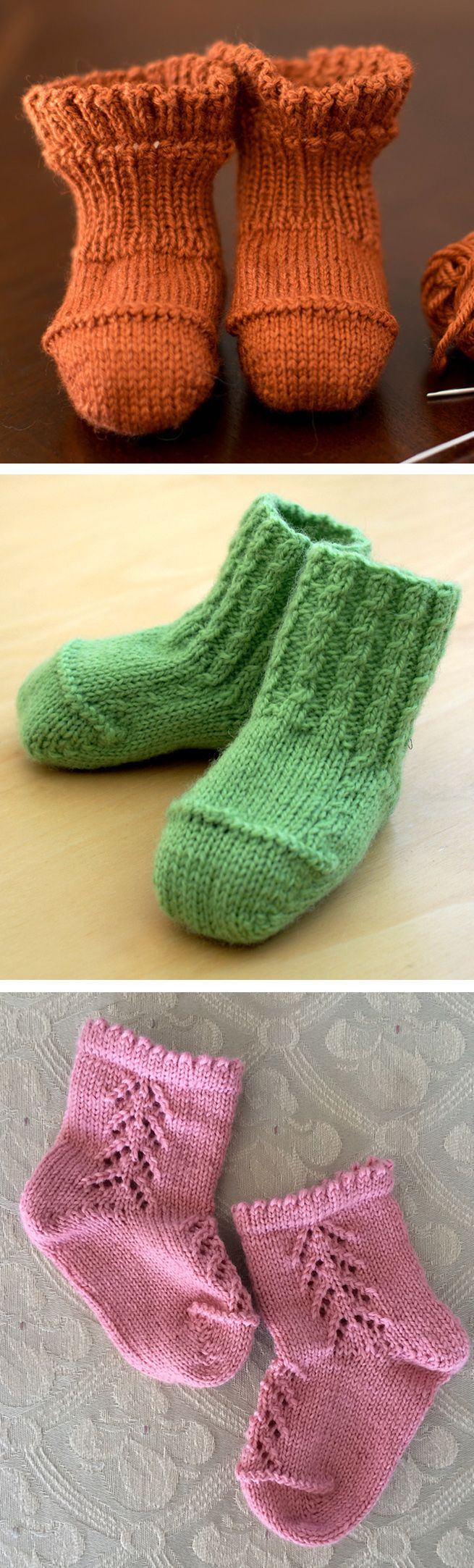 Free Knitting Pattern for 3 Better-Than-Booties Baby Socks – Baby socks in 3 versions – Ruffle Rib, Cable Rib, and Chevron Lace. All are knit with a short-row heel and toe and decorative zigzag bind-off. Designed by Ann Budd. Pictured projects by rahardjo-knits, Calune, and drakey
