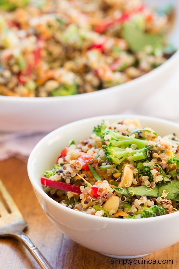 A clean eating version of Pad Thai, this Thai Peanut Quinoa Salad is made with fresh veggies and a healthy dressing - gluten-free + vegan too!
