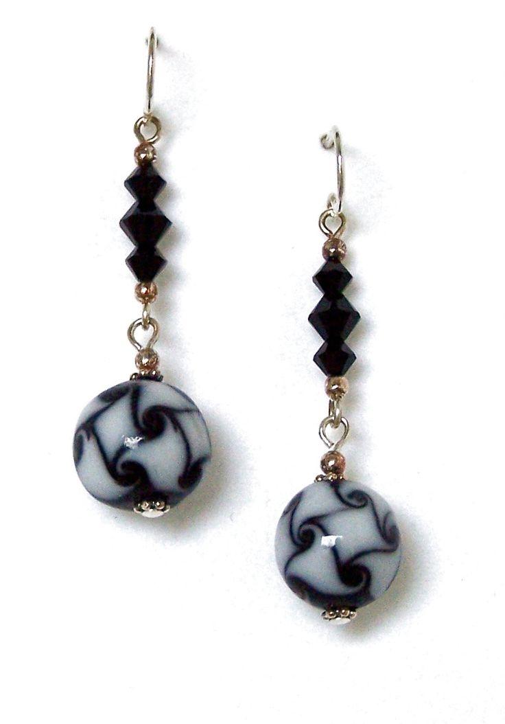 Black & White Marbled Glass Earrings