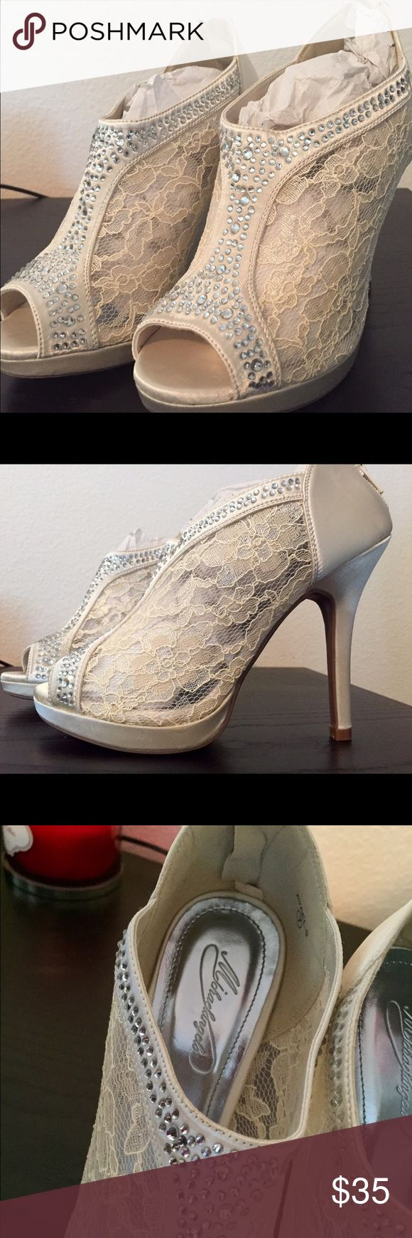 Formal Shoes for weddings Ivory color Lacey  high heels shoes great for wedding. Brand new! I bought in David's Bridal shop last year David's Bridal Shoes Heels