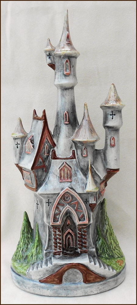 FANTASY HAND PAINTED & GLAZED ONE OF A KIND CERAMIC CASTLE ORNAMENT  - £25 and couldn't you just move in!