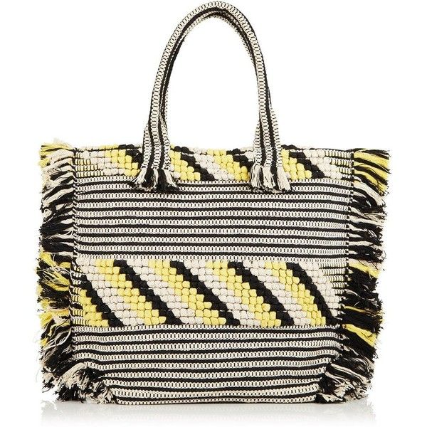 Whistles Woven Fringed Tote ($58) ❤ liked on Polyvore featuring bags, handbags, tote bags, multi, tote bag purse, woven handbags, woven tote bags, white tote handbags and fringe purse