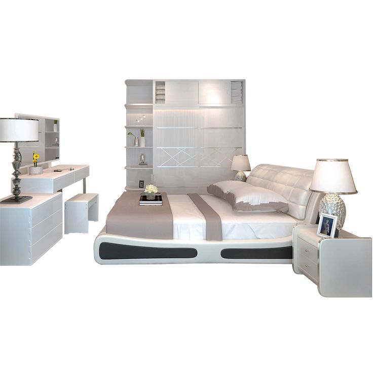 Mary Jane modern minimalist bedroom wedding room furniture suite combination leather art soft retractable dressing table sliding door wardrobe - ChinaglobalMall