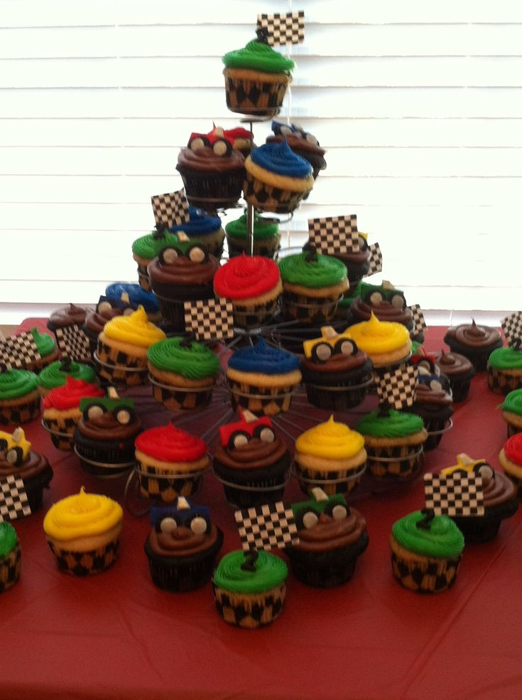 Monster Truck cupcake tower made by Genevieve Rodarte. Party hit!!