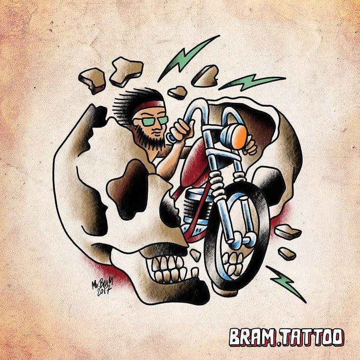 Brummm brumm this biker dude could be yours. Please email jesper@bram.tattoo for appointments #bramtattooflash #bramtattoo #belairtattoocopenhagen #bikertattoo #traditionalflash #ridethroughtheskull #chopper #skull #tattooflash