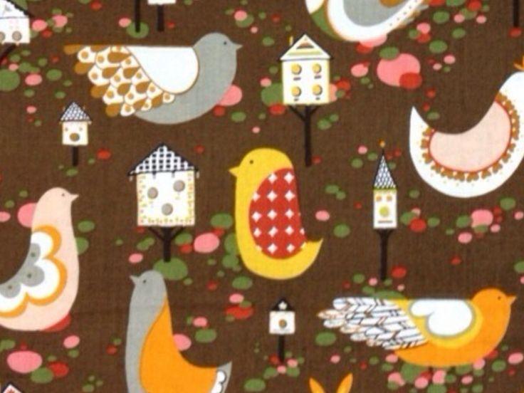 Scandinavian Owl Bird Willow Wren Birds and Birdhouses Colorful Folk Art Cotton fabric Quilt fabric WG16