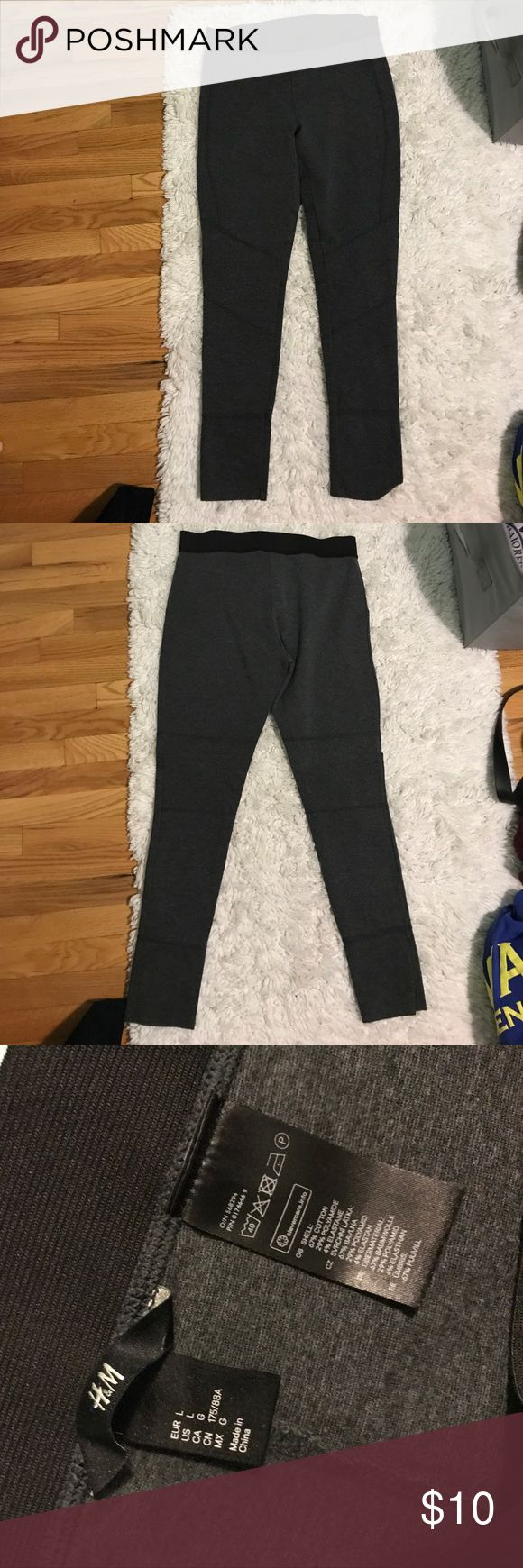 H&M leggings Thicker gray H&M leggings with black elastic waist band. H&M Pants Leggings