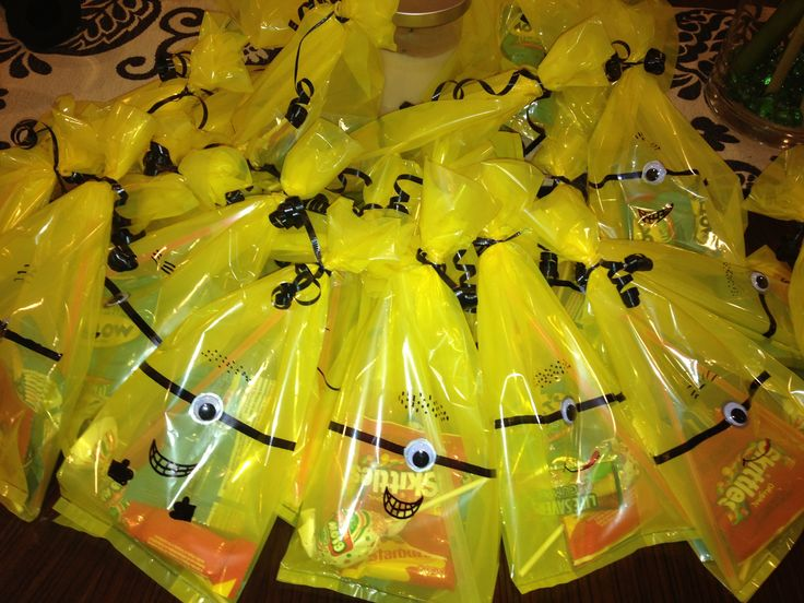 My daughter's minion party favors that I had to make up because I could not find any minion candy bags.  :0)