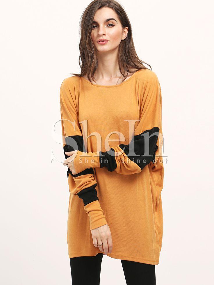 Shop Khaki Color Block Batwing Sleeve Loose T-Shirt online. SheIn offers Khaki Color Block Batwing Sleeve Loose T-Shirt & more to fit your fashionable needs.