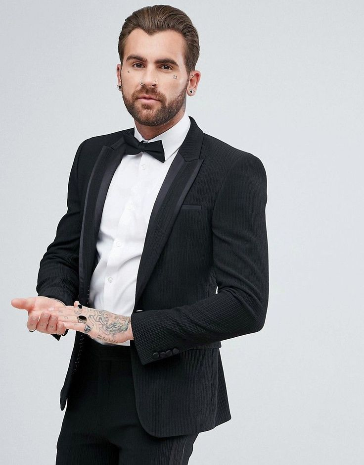 ASOS Super Skinny Tuxedo Suit Jacket In Black Pleated Fabric - Black
