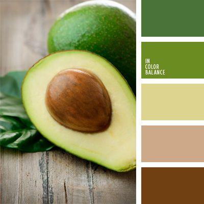 color verde aguacate, colores para la decoración, elección del color, marrón y verde, paletas de colores para decoración, paletas para un diseñador, tonos marrones, tonos verdes, tonos verdes y marrones.