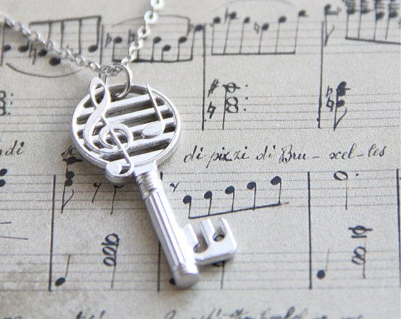 Musical Key Necklace. Open your heart to music. Silver Charm Necklace. Gift for Her. Music Lover, Music Teacher. Piano Teacher.