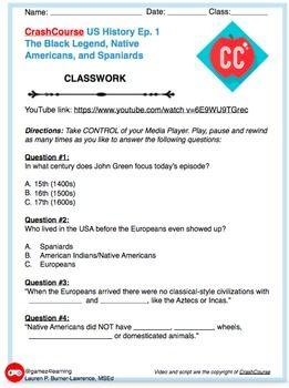 FREE Grades 5-12 Crash Course US History Ep. 1 Native Americans (CCLS-aligned) RH.6-8.2 RH.9-10.2. RH.11-12.2 Worksheet Handout Activity