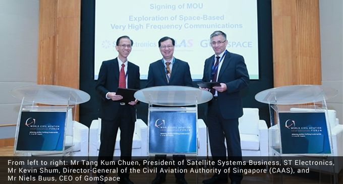CAAS, ST Electronics and GomSpace collaborate to explore the application and deployment of space-based VHF communications for air traffic management