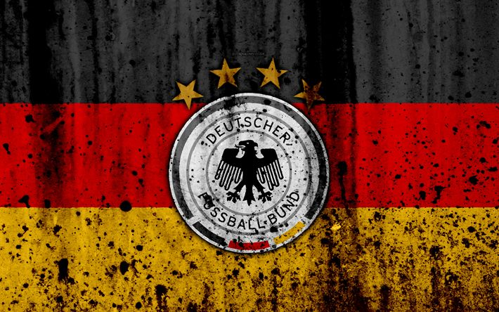 Download wallpapers Germany national football team, 4k, logo, grunge, Europe, football, stone texture, soccer, Germany, European national teams