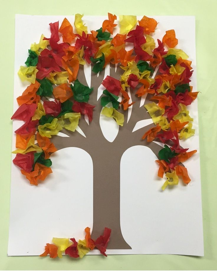 Use your pencil to make the leaves for this Fall Tissue Paper Tree. It gives the tissue paper depth and is less messy and quicker than rolling in a ball an