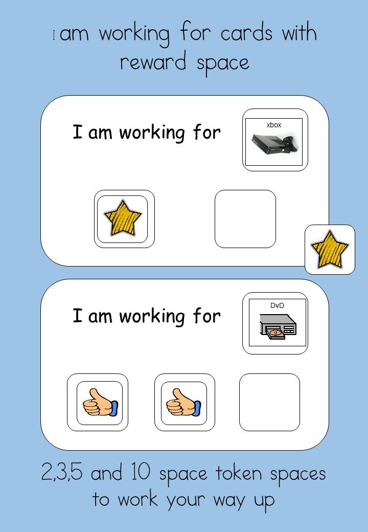 "Reward system - for students with Autism  Visual Reinforcement for students with Autism.   A powerful method of strengthening new skills and behaviours, The tokens are a way of ""paying"" children for completing tasks and then they can be used to trade for desired activities or items they choose."