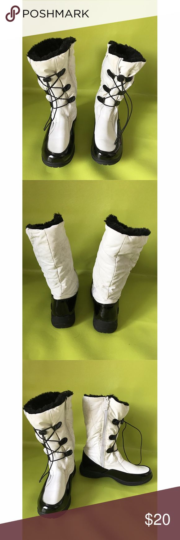 Totes High Laced Black White Womens Winter Boots 8 Round Toe, Flat, Ankle High, Faux Fur, Laced Up, Black White Womens Winter Snow Boot   Free shipping on orders over $75 Totes Shoes Winter & Rain Boots