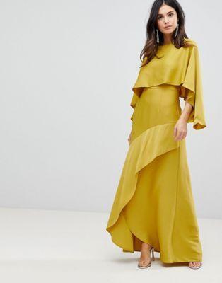 ASOS   ASOS Long Sleeve Crop Top Maxi Dress with Kimono Split Skirt