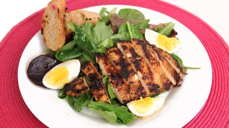 Grilled Chicken Caesar Salad Recipe - Laura Vitale - Laura in the Kitche...