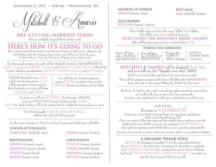 Fun wedding programs wedding programs and wedding church on pinterest
