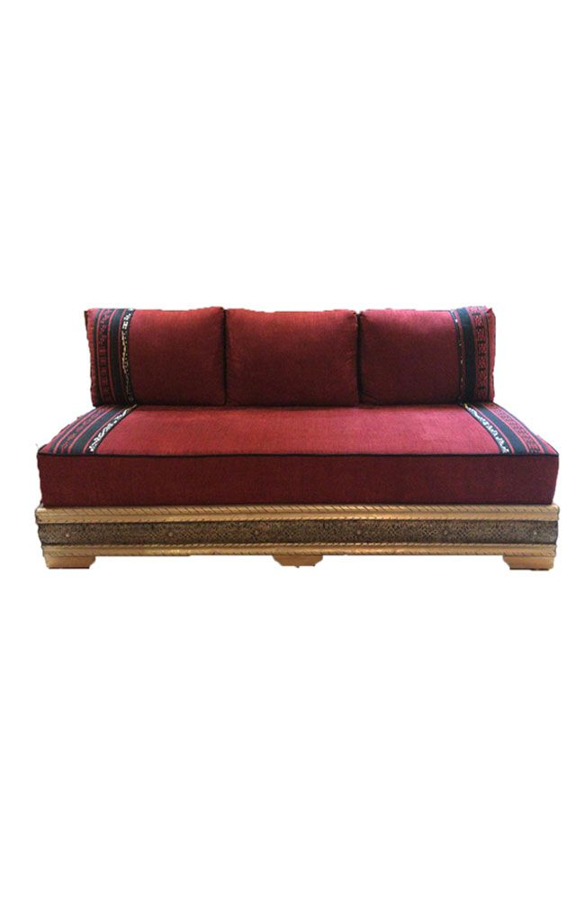 Custom White Three Seat Sofa With Carved Wood Base Three Seater