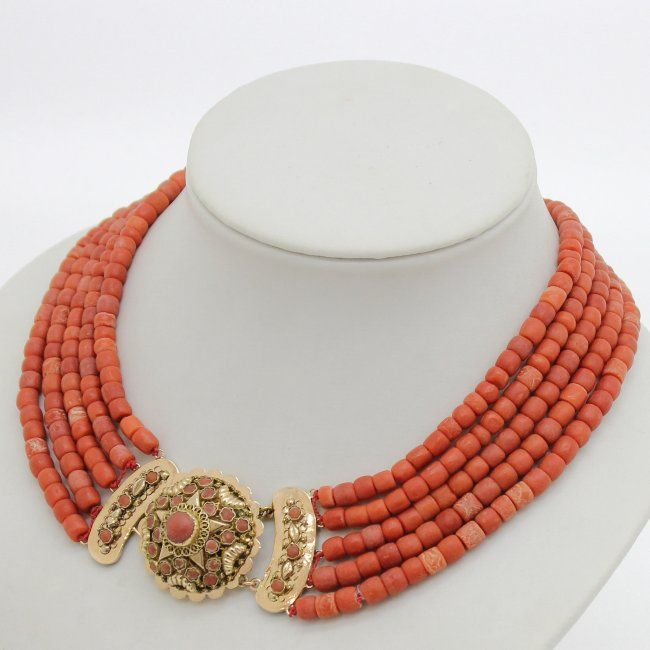 19th Century 5 Strand Red Coral Necklace 14KG Clasp : Lot 607