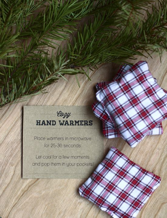 """Cozy hand warmers: 4 pieces of 3""""x3"""" cotton fabric, uncooked rice. Pin two pieces of fabric together, wrong side out. Sew around the edges, leaving at least an inch open. Turn square right side out. Fill square 3/4 of the way with rice. Hand sew or machine stitch the pocket opening."""