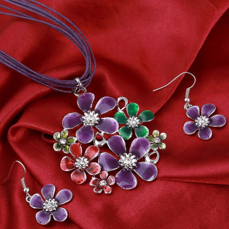 6色のファッションカラフルなフラワーペンダントネックレスイヤリングセット多層レザーシフォンリボンチョーカーneckalceジュエリーセット
