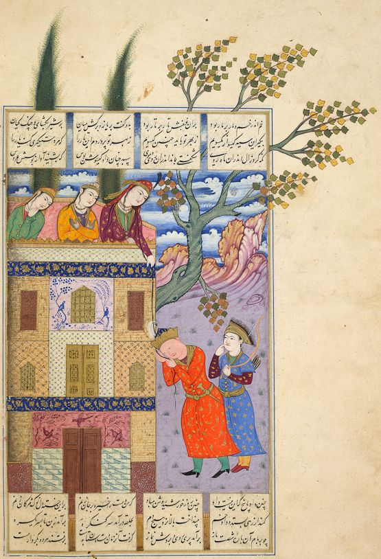 Rudabeh lets her hair down to Zal Ferdowsi, Shahnameh Safavid: Esfahan style, 1630s Opaque watercolour, ink and gold on paper London, British Library, MS I. O. Islamic 1256, fol. 42v