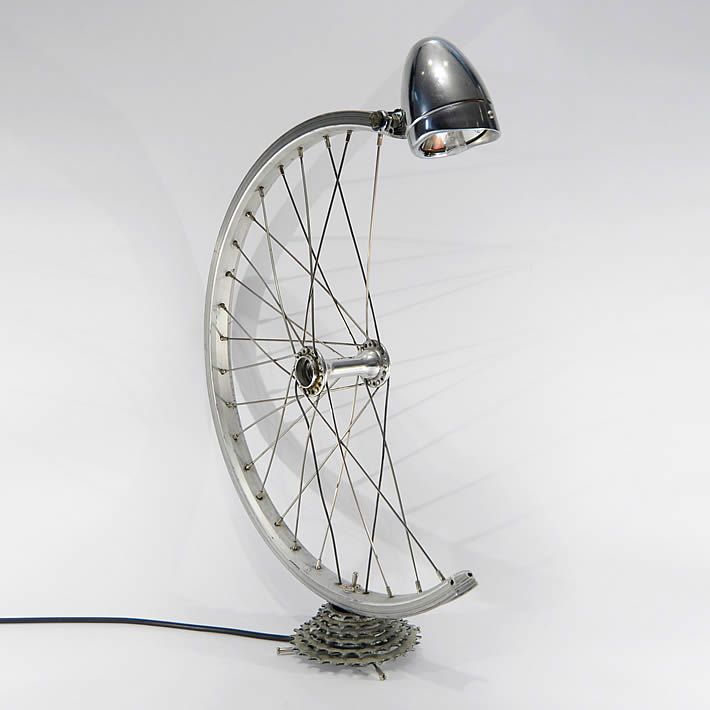 Bicycle parts desk lamp by Bespoke Spokes – For more great pics, follow www.bikeengines.com